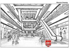 Get information about NATA Compositions with variety of examples created by AICT students. One Perspective Drawing, 3 Point Perspective, Drawing Scenery, Composition Painting, Human Figure Sketches, Figure Sketching, China Architecture, Drawing Architecture, Library Architecture