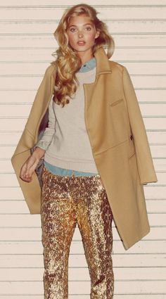 sequin pants + camel overcoat + casual chambray shirt and sweater + glam girl waves