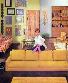 yellow sofa - mid century modern living room.