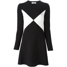 VALENTINO Geometric Sweater Dress (€2.510) ❤ liked on Polyvore featuring dresses, black and white dress, skater skirt, flared skirt, black and white circle skirt i geometric dress