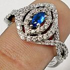 VINTAGE BLUE SAPPHIRE TOPAZ GEMSTONE 925 SILVER RING JEWELRY size 9 P6334 - blue, Gemstone, Jewelry, P6334, Ring, Sapphire, silver, Size, Topaz, Vintage