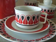 Mid Century Modern Graphic Pattern Coffee or Tea Service for Four. Schirnding, Bavaria. Made in West Germany..
