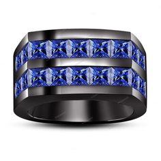 Men's Band Ring New Design Princess Cut Blue Sapphire 14K Black Gold Finish 7 8  #beijojewels #MensBandRing #EngagementWeddingAnniversaryPartyWear