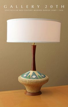 mid century modern lamp with ceramic base