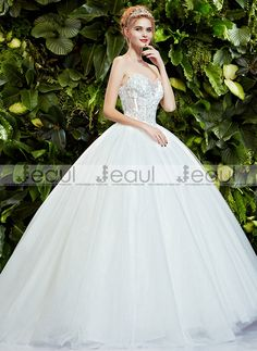 Ball Gown Hand-beaded Lace Bra Court Train Floor-Length Wedding Dress