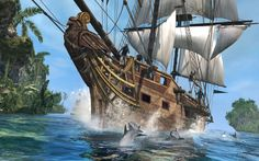 Step aboard the Jackdaw as Captain Edward Kenway, feared pirate and deadly assassin in Assassin's Creed IV: Black Flag on Xbox One Assassin's Creed Black, Assassins Creed Black Flag, Assassins Creed Series, Sailing Games, Sailing Ships, Xbox 360, Dolphin Hd, Best Assassin's Creed, Free Desktop Wallpaper