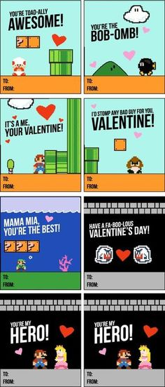 These Mario Valentines Are Sure To Be The Class Favorite | Kids Valentine Cards | Free Printables For Kids