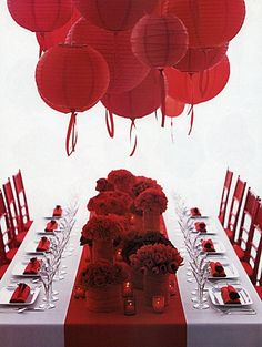 Paper Lanterns in Red with Ribbons