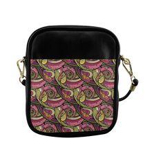 Pink Orange Green Vintage Floral Pattern Sling Bag (Model 1627)