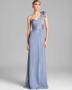 Amsale One Shoulder Bow Detail Chiffon Gown in Blue (Slate)