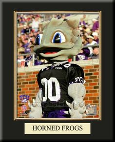 """One 8 x 10 inch Texas Christian University photo of University of Texas Christian Mascot inserted in a gold slide-in frame and mounted on a 12 x 15 inch solid black finish plaque.  Also features a 3-inch Arabian gold-faced clock, a customizable nameplate* and a 2-inch """"ALL STAR"""" insert with a gold base. $59.99  @ ArtandMore.com"""