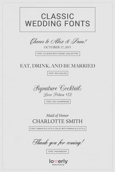Wending Invitations: Classic #wedding fonts