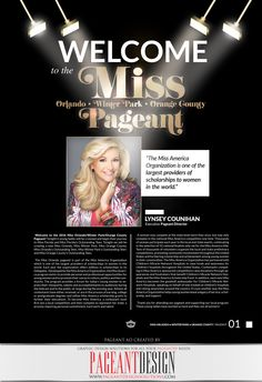"""Welcome"" page designed for the 2016 Miss Orlando Program Book. #‎PageantDesign‬ Graphic design solutions for all your pageantry needs! Pageant Ads • Pageant Program Books • Websites • Promo Items + more! 