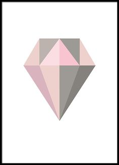 Tavla med diamant i grått och rosa, fina pasteller.