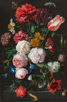 Still Life with Flowers in a Glass Vase, J.Dsz. de Heem (1606 ‐ 1683/84). Rijksmuseum Amsterdam