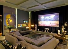 The decoration of home theaters in small or large environments can be made with lots of creativity and good taste. The decoration is an art that should be Home Cinema Room, At Home Movie Theater, Home Theater Setup, Home Theater Rooms, Home Theater Seating, Home Theater Design, Dream Home Design, Home Interior Design, House Design