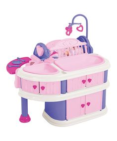 Little ones can develop important caretaking skills with this complex nursery set. It boasts tons of realistic accessories needed for nursing darling dolls, making it an engaging and educational play space for kids.