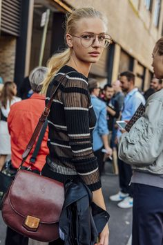 September 14, 2016  Tags Red, Sheer, Stripes, Glasses, Women, Burgundy, Model Off Duty, Models, Bags, Sweaters, New York, Ribbed, Frederikke Sofie, 1 Person, Ponytails, SS17 Women's