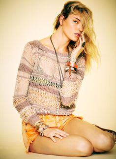love the beachy pullover!    Martha Hunt for Free People Here Comes the Sun Lookbook by Anthony Nocella