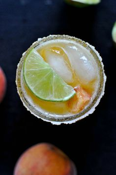 Juicy Peach Margaritas 2 ounces Grand Marnier 1 ounces Tequila 2 ounces lime juice 2 ounces peach simple syrup lime + chopped peaches for garnish Party Drinks, Cocktail Drinks, Fun Drinks, Cocktail Recipes, Alcoholic Drinks, Drink Recipes, Mixed Drinks, Cocktail Shaker, Milk Shakes
