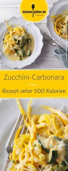 Light recipe for zucchini carbonara with less than 500 calories per serving . Zucchini Carbonara, Light Chicken Recipes, Light Recipes, Yellow Zucchini Recipes, Chef Recipes, Healthy Recipes, Healthy Food, Spiral Noodles, Zucchini Fries