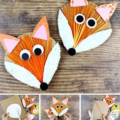 Yarn Wrapped Fox Craft: A fun and engaging autumn craft for kids that incorporates lots of fine motor skills; drawing, curring, painting and threading. Easy Yarn Wrapped Crafts Templates | Yarn Wrapped Cardboard Crafts | Fall Crafts for Kids Autumn | Woodland Animal Crafts for Kids #AnimalCrafts