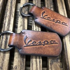 Handmade Vespa leather keychain.