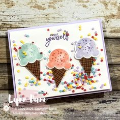 Ice Cream Cone Images, Ice Cream Punch, Card Making Kits, Fancy Fold Cards, Stamping Up Cards, Shaker Cards, Card Making Inspiration, Cool Cards, Kids Cards