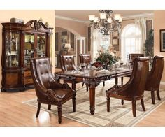 ACM- 60075 Winfred Elegant Cherry Finish Decorative Dining Room Set With Accent Trims Leather Upholstered Chairs