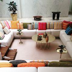 Eero Saarinen conversation pit, upholstered by Alexander Girard courtesy of Alexandra Lange: Portfolio   Miller House