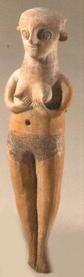 Figurine of a naked woman from Cyprus  Deir el-Balah  Late Canaanite period, 13th century BCE  Pottery