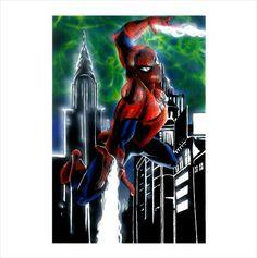 DIANGELIS- SPIDER MAN Drawing Pinup Original Art Mixed Technique