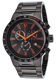 Swiss Legend 10057-GM-11-ORA Watches,Endurance Chronograph Gunmetal IP Steel Black Dial Orange Accents, Casual Swiss Legend Quartz Watches