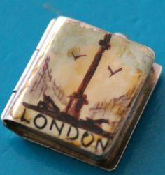 Vintage silver charm: London souvenir photo book locket fob, Georg Jensen