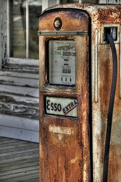 """Love this vintage Esso gas pump // Only in Germany are we allowed to get """"tax free"""" gas.  If you pump gas off base, in another country, or at another non-Esso gas station, you will pay the economy gas price which will be more expensive."""