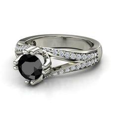 Black diamond with white diamond accents in palladium