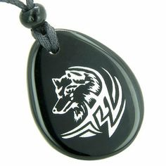 Amulet Courage and Protection Lucky Wolf Spiritual Black Onyx Wish Totem Gem Stone Necklace Pendant:Amazon:Jewelry