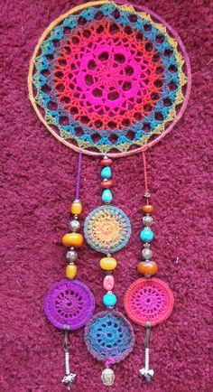Best 12 Ravelry: AliciaCren's Upcycled CD Mandala Crochet Dreamcatcher Pattern, Dreamcatcher Design, Crochet Mandala Pattern, Granny Square Crochet Pattern, Crochet Wall Art, Crochet Home, Crochet Crafts, Yarn Crafts, Wind Chimes