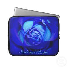 Blushed Blue Rose Laptop Sleeve *Personalize*