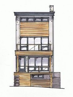 Front elevation colour rendering, by Inhabit Home Design.: