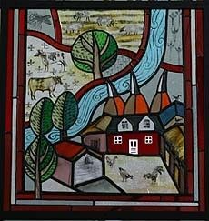Variety of British Farming - stained glass window of rural landscape with farmhouse, oasthouses, trees and a river plus fields of sheep and chickens.