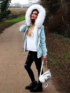 Yorustyle: Fluffy Denim Coat and Guess Backpack Guess Backpack, Denim Coat, Calvin Klein, Sporty, Backpacks, London, Fit, Style, Fashion