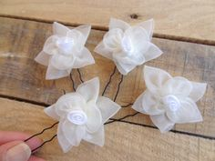 Ivory Flower Wedding Hair Pi... from sevinchjewelry on Wanelo
