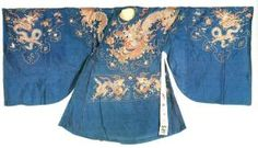 Blue Silk Robe Embroidered with Dragon Design, Century - Century, Ming Dynasty Silk. Chinese Culture, Chinese Art, Dragon Design, Chinese Clothing, 14th Century, Hanfu, Historical Clothing, Traditional Outfits, Costumes