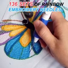 DIY Rainbow Color Embroidery Threading Tool - Knitting for beginners,Knitting patterns,Knitting projects,Knitting cowl,Knitting blanket Embroidery Tools, Embroidery Needles, Hand Embroidery Stitches, Embroidery Patterns, Sewing Patterns, Knitting Needles, Knitting Stitches, Hand Stitching, Cross Stitch Embroidery