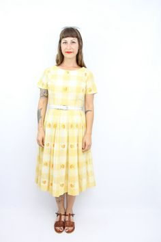Vintage 50's Yellow Plaid Day Dress / by RubyThreadsVintage