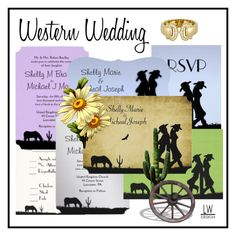 """Western Wedding Invitation Suite"" by kashmier ❤ liked on Polyvore featuring art"