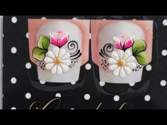 Nail Arts, Manicure And Pedicure, Arts And Crafts, Stickers, Nails, Youtube, Cool Easy Nail Designs, Flower Nail Designs, White Nail Beds
