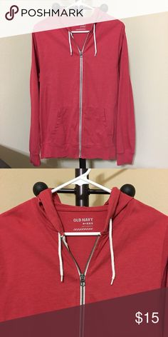 Old Navy Jersey Hoodie for Men Size: MEDIUM  Color: Fire Red  -Drawstring hood. -Long sleeves. -Hand-warming pockets. -Full-length zipper from hem to neck. -Soft, lightweight jersey.  Good condition ! Thanks for shopping @toowendy ! 😊 Old Navy Jackets & Coats Lightweight & Shirt Jackets