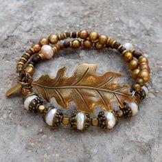 Antique gold leaf beaded wrap bracelet